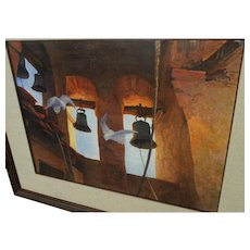 California art large signed 1989 watercolor of mission bells and doves