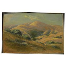 MANUEL VALENCIA (1856-1935) California plein air landscape painting of tawny gold hills by well listed artist