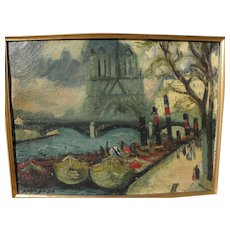 MAX BAND (1900-1974) oil painting of Notre Dame and Seine River in Paris by Jewish well listed artist