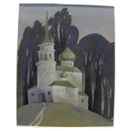 Gouache painting of Russian church late 20th century