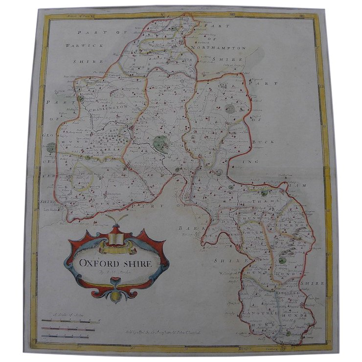 Antique Map Of Oxfordshire England By Robert Morden 1695 Jon Berg