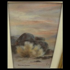 Nevada art small signed pastel drawing of sage on the Black Rock Desert