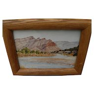 "Oregon art small Northwest watercolor painting ""John Day River at Black Rock"""