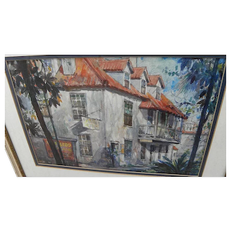 """ROBERT HAMILTON Florida art Saint Augustine watercolor painting dated 1934 by """"Lost Colony"""" artist"""