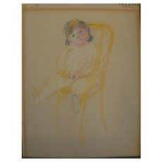 Pastel drawing of a young child by New York artist Muriel Kahn 1967