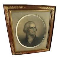George Washington 1856 lithograph by P. S. Duval after famous Rembrandt Peale bust portrait