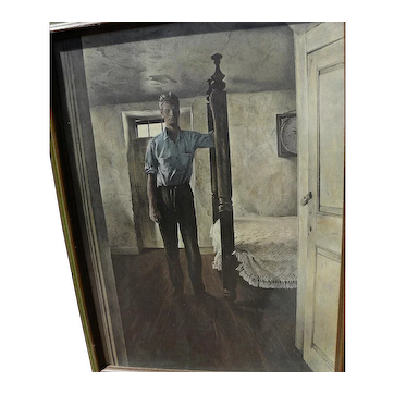 "ANDREW WYETH (1917-2009) limited edition 1960's print ""Arthur Cleveland"" with hand INK SIGNED label by the artist"