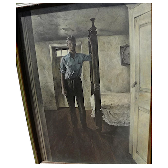 """ANDREW WYETH (1917-2009) limited edition 1960's print """"Arthur Cleveland"""" with hand INK SIGNED label by the artist"""