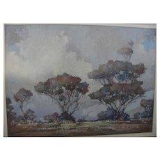 ALAN TREGENZA (1961-) Australian art fine pastel landscape drawing probably South Australia