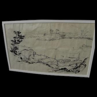 PERHAM NAHL (1869-1935) California art ink landscape drawing by popular illustrator artist and educator