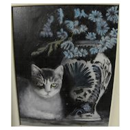 Cat art contemporary painting of tabby with still life dated 2008