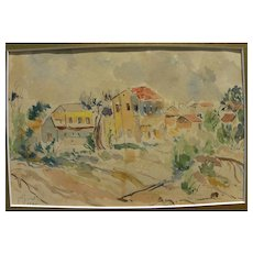 ZIPORA KOVELMAN (1936-) Israeli art watercolor painting by listed Jewish artist
