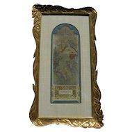 "ALPHONSE MUCHA (1860-1939) original vintage print ""Automne"" 1896 in elaborate gold custom frame"