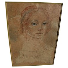 Fine classical style drawing of a young woman signed with initials circa 1980