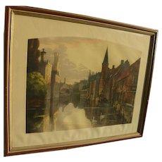FREDERIC LOUIS LEVE (1877-1968) large beautiful aquatint print of Bruges Belgium canal scene