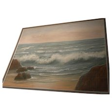Vintage signed pastel drawing waves breaking on a beach