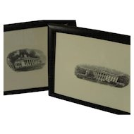 Two fine engravings of Mount Vernon and White House by Bureau of Engraving and Printing