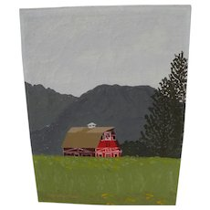 Alaskan art painting of red barn in Matanuska Valley signed Ted Goldstone 1969