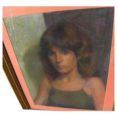Contemporary pastel portrait of a young woman signed