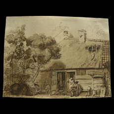 After GERBRAND VAN DEN EECKHOUT (1621-1674) decorative print of ink drawing by Rembrandt pupil and friend
