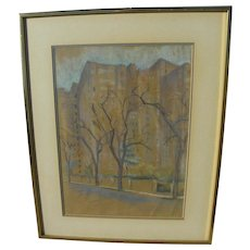 Pastel drawing of apartment buildings in winter possibly New York signed dated 1939