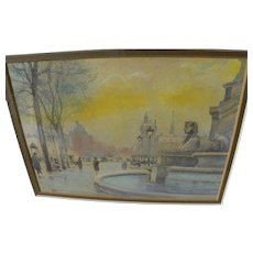 EMILE APPAY (1876-1935) beautiful small mixed media drawing of Paris 1922