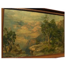 THOMAS MORAN (1837-1926) Southwestern American art framed chromolithograph print of the Grand Canyon circa 1912 as-is condition