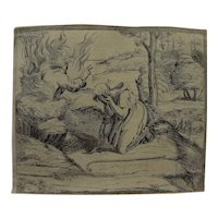 ORAZIO BORGIANNI (1578-1616) original 17th century etching of Biblical subject after Raphael's frescoes in Vatican
