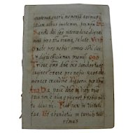 Circa 17th century or earlier miniature religious manuscript page in Latin double sided