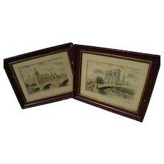 Pair of old color prints of Paris scenes including Notre Dame and Pont au Change bridge