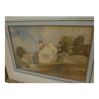 English 19th century watercolor painting of a cottage nicely framed and matted