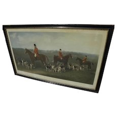 Large fine English mid 19th century fox hunt print engraving after Edward Robert Smythe