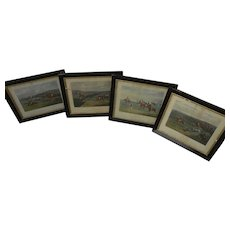 After HENRY ALKEN **four** identically framed 1830 English sporting art engravings of equestrian steeple chase scenes