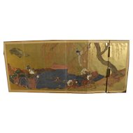 Antique Japanese art Kano School mid 18th century six panel screen poor condition