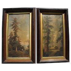 LOUIS PRANG **pair** 1870's chromolithograph prints of California big trees