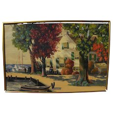 Impressionist painting of New England coastal village signed B. G. DORSEY