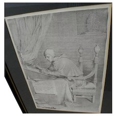 CLAUDE MELLAN (1598-1688) fine engraving of St. Gregory dated 1681 by French Old Master artist