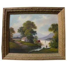 Hudson River School folk art naive landscape painting