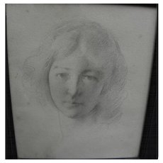 "JOSEPH R. DeCAMP (1858-1923) fine pencil portrait drawing of young woman by major ""Boston School"" artist"