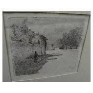 GIOVANNI FATTORI (1825-1908) pencil signed etching by important Italian artist