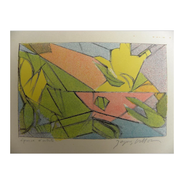 JACQUES VILLON (1875-1963) pencil signed abstract lithograph print