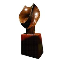 Modern quality vintage bronze sculpture on wood base