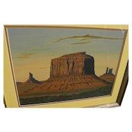 ARTHUR C. BEGAY SR. (1932-2010) original gouache Monument Valley landscape by noted Navajo artist