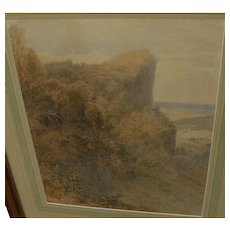 Fine signed 19th century watercolor landscape painting dated 1873