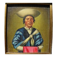 Ecuadorian art small oil painting of man in traditional clothing