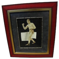 Boxer JACK DEMPSEY (1895-1983) original early autograph signature with 1922 dedication on cutout photo of the fighter