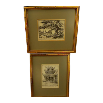 HARRIET GENE ROUDEBUSH (1908-1998) **PAIR** pencil signed etchings by listed San Francisco artist