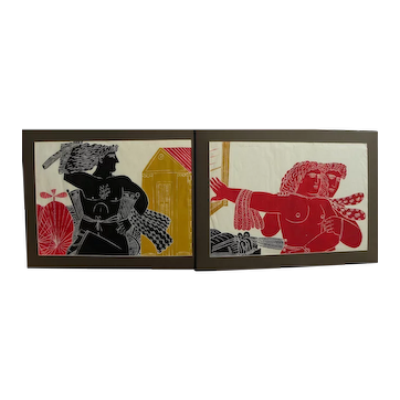 ALECOS FASSIANOS (1935-) contemporary Greek art PAIR woodcut prints limited edition pencil signed