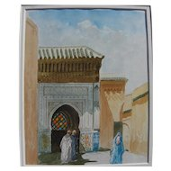 Islamic art contemporary watercolor painting of mosque and veiled figures signed Khalil