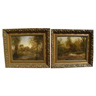 FRANKLIN JAY LEWIS (1838-1910) **pair** 19th century Hudson River style paintings by listed early California artist